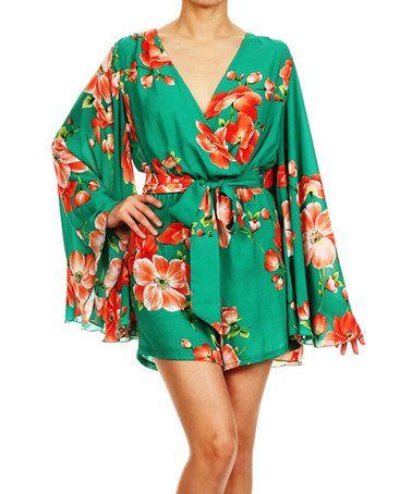 Look what I found on #zulily! Green Floral Romper - Women by Karen T. Design #zulilyfinds