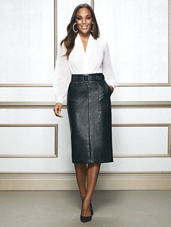 7bc2ad4c7cd73 Shop Eva Mendes Collection - Green Glenda Pencil Skirt. Find your perfect  size online at the best price at New York   Company.
