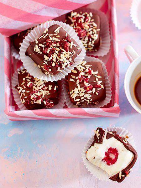 #eiskonfekt #eis #himbeeren #schokolade #Rezept #kokos