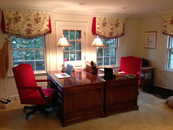 His And Hers Home Office All Furniture Custom Made As Well The Window Coverings