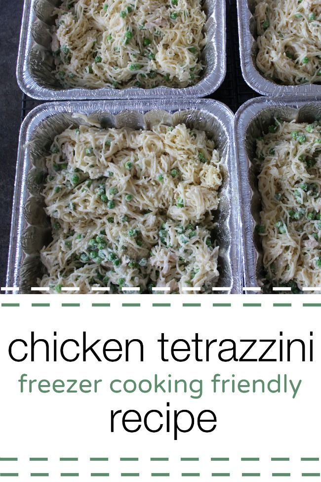 Looking for an easy freezer cooking recipe?  This chicken tetrazzini recipe is easy to make and is a crowd pleaser!