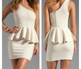 Elegante de un hombro sin mangas vestido Peplum Blanca