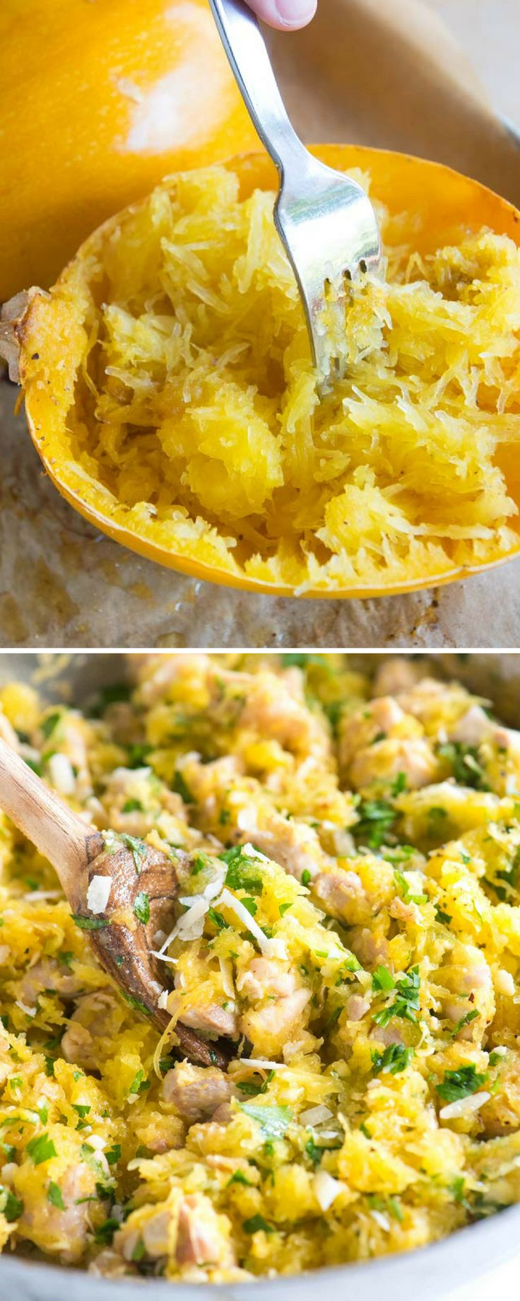 This easy and healthy spaghetti squash recipe is a total winner! We bake spaghetti squash in the oven until tender then toss it with lemon, chicken, parmesan and fresh parsley.