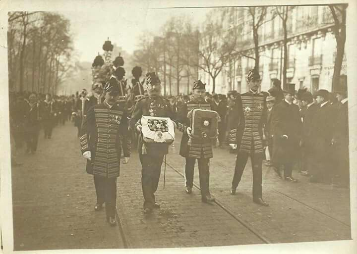 "The funeral of the Grand Duke Alexei Alexandrovich Romanov of Russia,a paternal uncle to Nicholas,in 1908.The Grand Duke died of pneumonia in Paris on 27 November (14 November O.S.) 1908.He was the first to be interred in the new Grand Ducal Burial Vault which had been constructed to hold the remains of the non-reigning Romanovs. ""AL"""