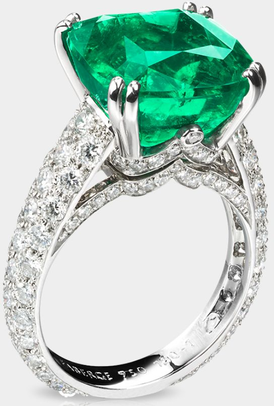 This is the Fabergé Solyanka Vera ring. The ring is named for Vera Kharitonenko, the widow of the Sugar King, in whose Moscow mansion in Solyanka Street, the hoard of Fabergé jewels was found in 1990. The center stone is an ethically mined 8.27ct Gemfields cushion-cut emerald. It's set in 18ct white gold and surrounded by 129 diamonds for a total diamond weight of 1.81ct.