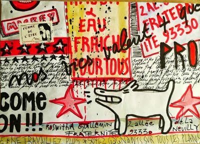 "Christine Le Roy's contribution to my Mailart call ""I Love Street Art"""