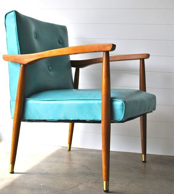 Teal aqua blue mid century armchair wood and vinyl
