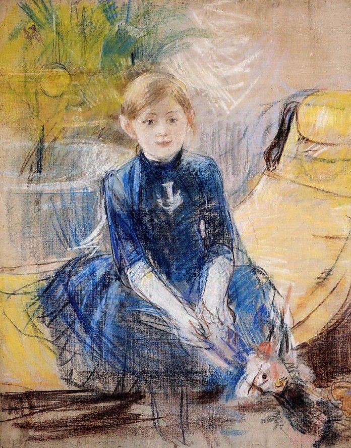Berthe Morisot, Klien meisje in een blauwe trui, 1886, pastel, 100 x 81 cm, Musée Marmottan, Parijs  http://www.artsalonholland.nl/impressionisme/morisot-klein-meisje-in-blauwe-trui