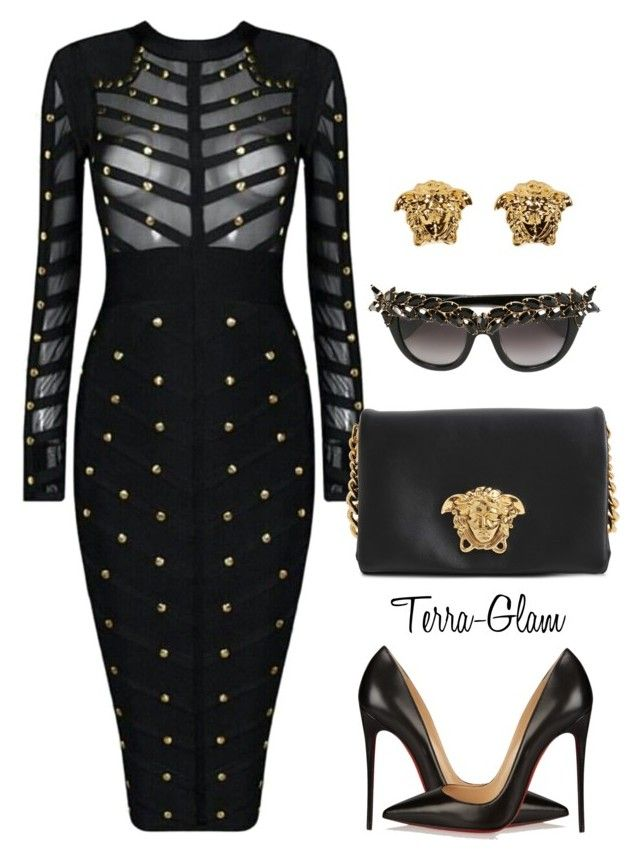 """""""Mad About Medusa"""" by terra-glam ❤ liked on Polyvore featuring Versace, Christian Louboutin, Anna-Karin Karlsson, women's clothing, women, female, woman, misses and juniors"""