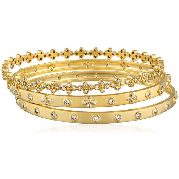 """Freida Rothman """"New Classic"""" Set of Three Gold-Plated Bangle... ❤ liked on Polyvore featuring jewelry, bracelets, freida rothman, bangle bracelet, gold plated bangles, hinged bracelet and bangle jewelry"""