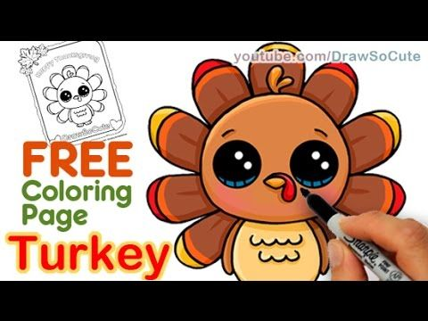 How To Draw A Cute Turkey Step By Step Easy Thanksgiving