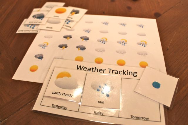 This idea, use Cricut weather cut outs! Preschool Activities – Weather Tracking