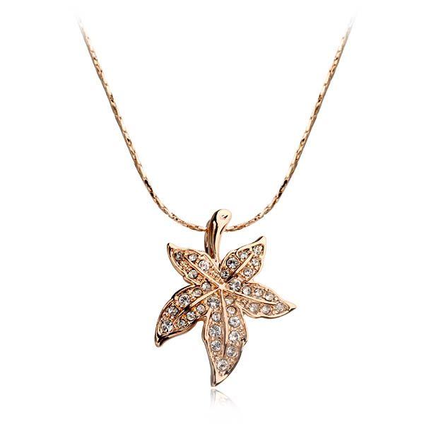 Последние дизайн кленовый лист сплава цинка ожерелье из кристалл для женщин