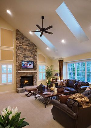 Vaulted Skylight Ceiling Living Roomhoping I Can Get This Added To Our Stone Fireplace WallFireplace RoomsStacked