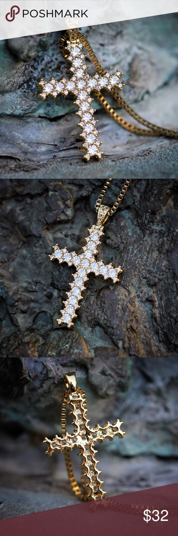 Gold Lab Diamond Princess Cut Cross Necklace Small Yellow Gold Lab Diamond Princess Cut Cross Necklace  Small size 25mm in length.  Chain is 14k gold plated over 316 stainless steel.  White lab simulated diamonds.  1.5mm width 18,20,22,24,26 or 30 inch 14k gold plated 316 stainless steel box chain included. TSV jewelers Jewelry Necklaces