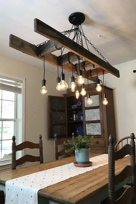 Vintage Farmhouse Ladder Chandelier With Edison Bulbs Made With Reclaimed Rustic Wood In 2020 Farmhouse Dining Room Lighting Industrial Farmhouse Decor Rustic Industrial Lighting