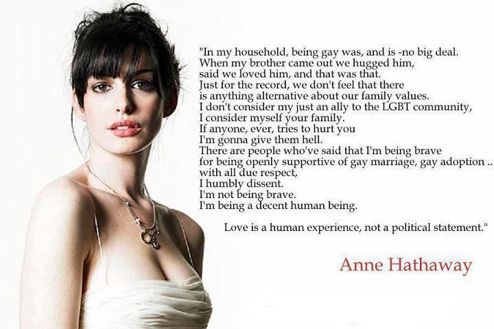 "Anne Hathaway ""being a decent human being."""