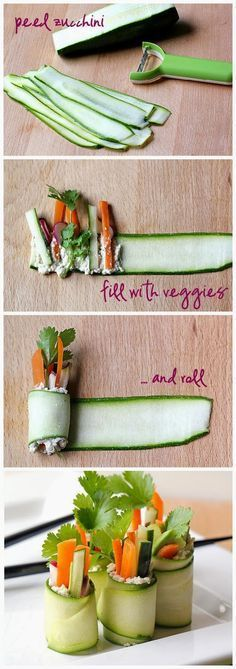 "Raw Zucchini ""Sushi"" Rolls ~ Freshdreamer (I'd probably use goat cheese or a yogurt/feta mixture in place of the cashew paste, but what a charming idea!)"