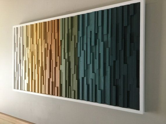 Transcending Color Collection  Handcrafted modern wood wall art piece that is ma…