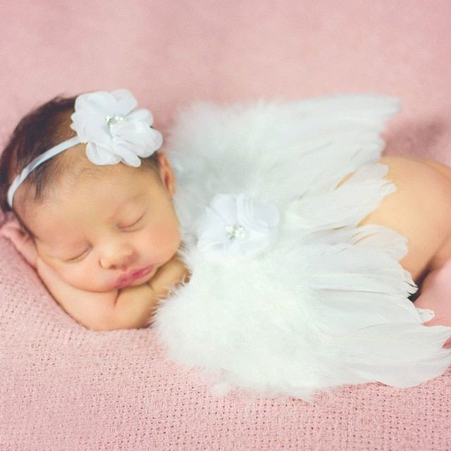 Baby Girl Clothes Newborn Infant Headband+Wing Clothing Set Photography Props