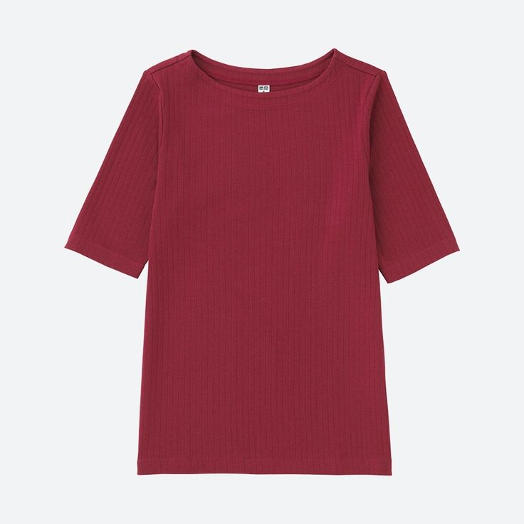 WOMEN Ribbed Boat Neck Half Sleeve T Shirt