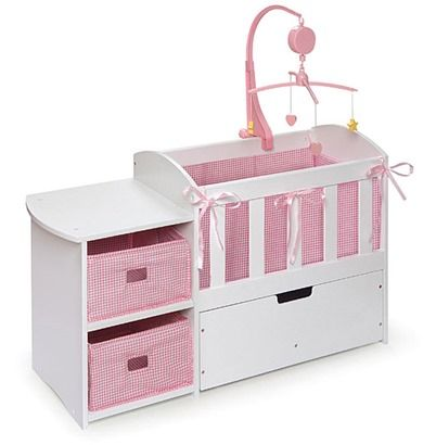 Doll Crib with Changing Table -- I LOVE this. Love the changing table and all the storage for baby doll things