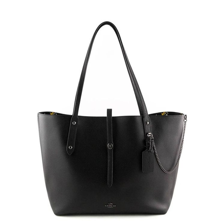 Coach Black Pebbled Leather Market Tote with Rebel Charm - LOVE that BAG - Preowned Authentic Designer Handbags - $250 CAD