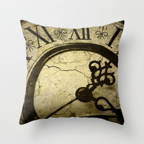 Pillow Cover, Steampunk Clock Photo Pillow, Steampunk Throw Pillow, Goth Clock pillow, Living room decor, bedroom Decor, 16x16 18x18 20x20 on Etsy, $36.00