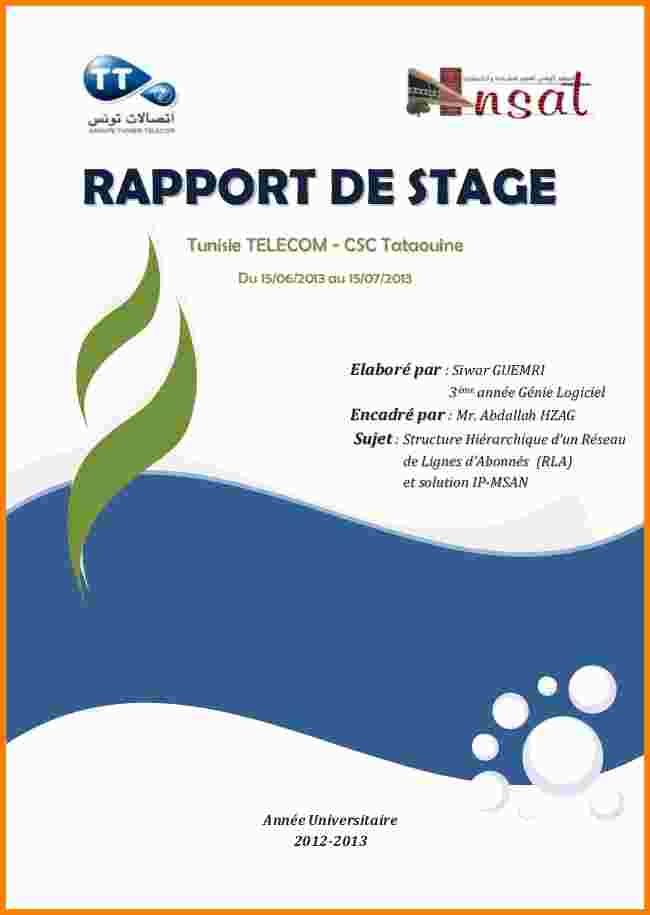 15 Page De Garde D Un Rapport De Stage Ala Ouzarf Hadjret Ennous Report Design Annual Report Design Presentation