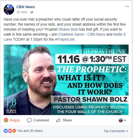 SHEEPDOG ALERT: The 'Christian' Broadcast News (CBN) has become a soap box for compromise, false teachings, and all kinds of heresies. I don't know what's worse, CNN or CBN? Actually to do this under the guise of Christianity, CBN is worse. This brand new post already has 29 'likes,' sadly that number will grow. But take note of the one 'angry' emoticon, which is mine. I almost hit the 'laughing' emoticon, but there's nothing funny about this.