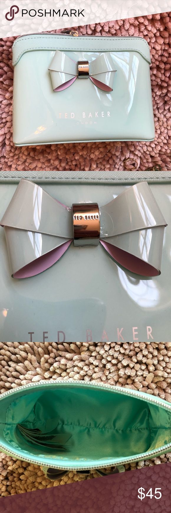 Ted Baker Cosmetic Pouch NOWT! Ted Baker Cosmetic pouch in light blue with silk lining. Very luxurious. Super cute and very durable Ted Baker London Bags Cosmetic Bags & Cases