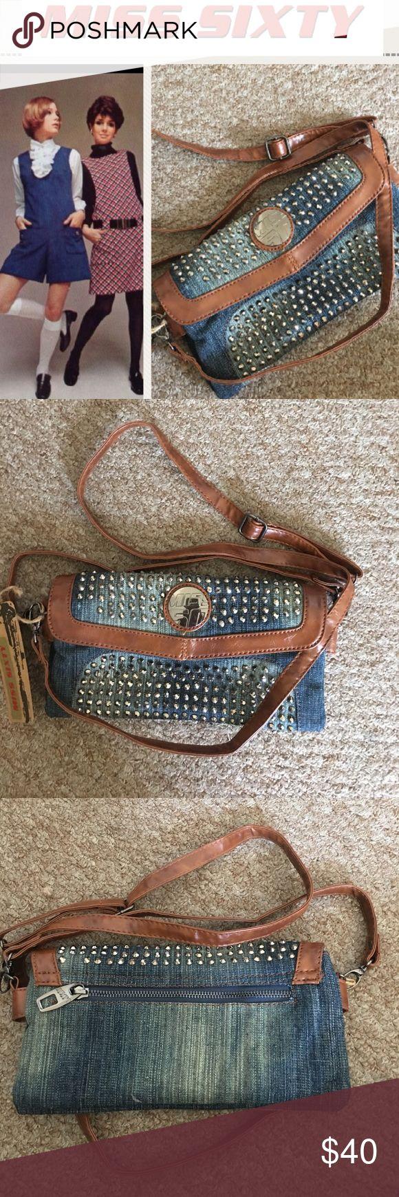 Miss Sixty rare denim studded purse Rare and beautiful Miss Sixty denim studded crossbody bag brand NWT hard to find. Miss Sixty Bags Crossbody Bags