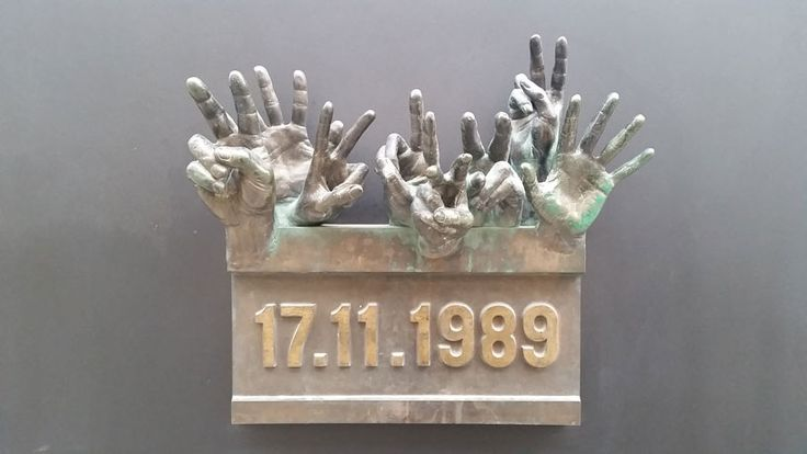 The 17.11.1989 plaque commemorating the location in Narodni (New Town) where the protesting students first fought with the security services and triggered the Velvet Revolution.