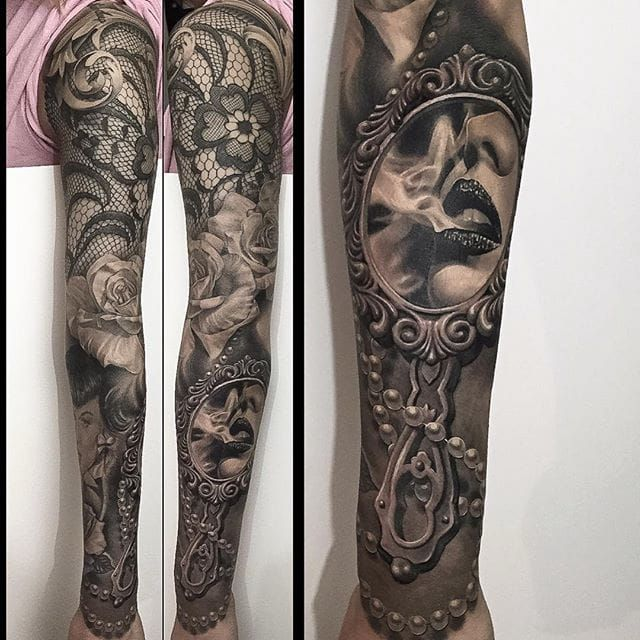 Nicholson's black and grey realism tattoos don't just borrow from life, they recreate it. These sleeve tattoos highlight his extreme skills.