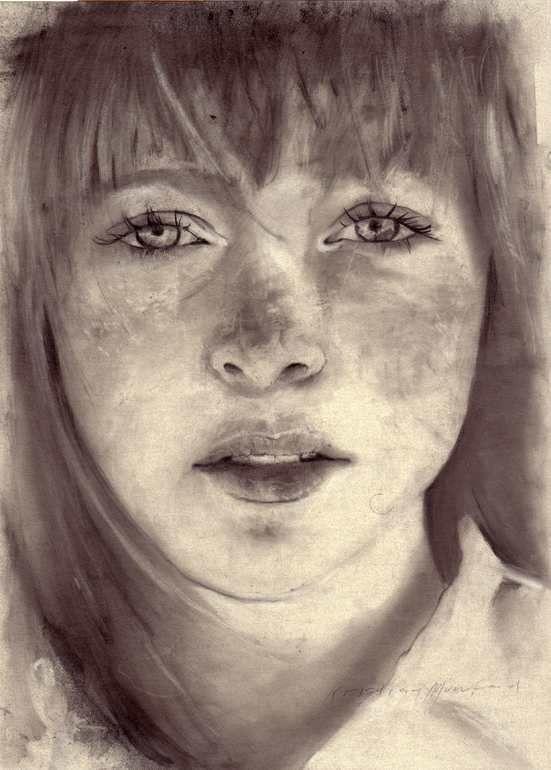 "Saatchi Art Artist: Kristian Mumford; Charcoal  Drawing ""The head of Anxiety""."