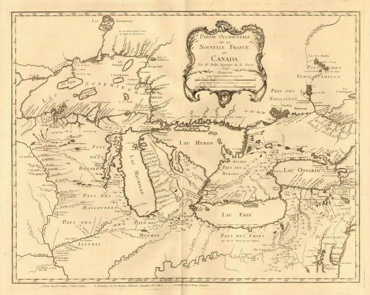 GREAT LAKES incl. phantom islands in Lake Superior, Bellin 1745 map #map #greatlakes