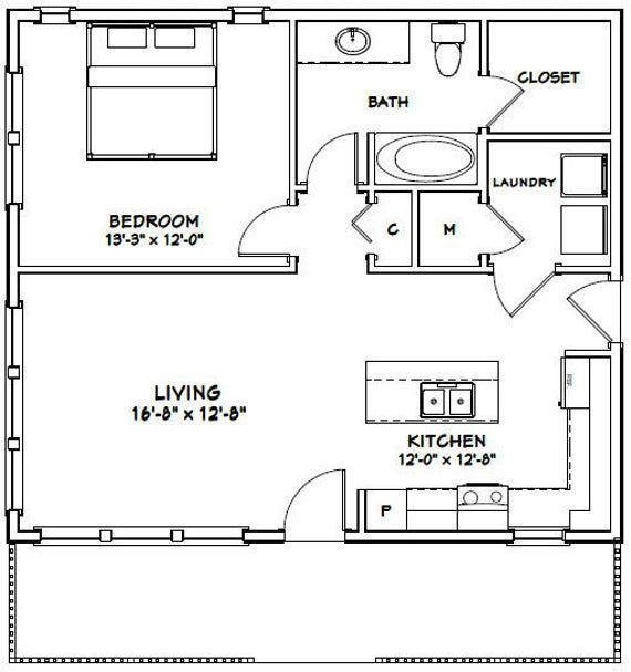 This Is A Pdf Plan Available For Instant Download 1 Bedroom 1 Bath Home With Microwave Over Range Sq In 2020 Tiny House Floor Plans Guest House Plans One Bedroom House