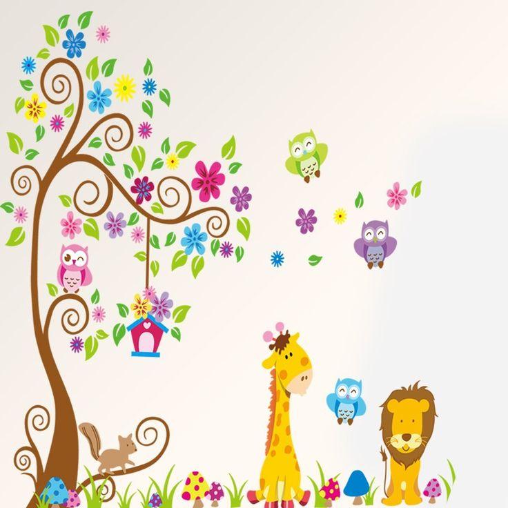 Mercurymall® Stickers muraux hibou,Girafe et Lion animaux Autocollant Papier Stickers Mural Réutilisable Pour Chambre d'enfant: Amazon.fr: Cuisine & Maison