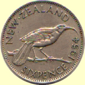 Huia design on the six pence which became the 5cent coin, now demonestised