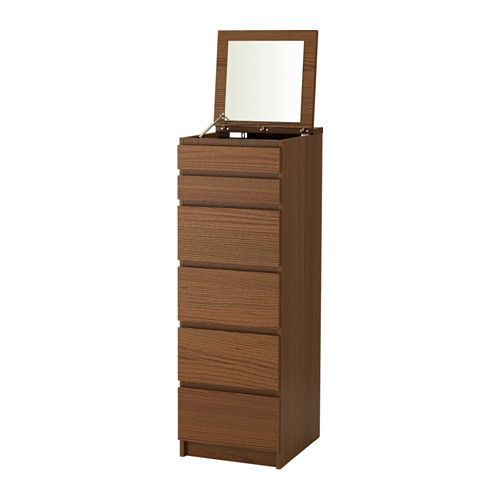 MALM 6-drawer chest, brown stained ash veneer, mirror glass brown stained ash veneer/mirror glass 40x123 cm