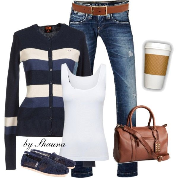 """""""striped button down cardi for Fall"""" by shauna-rogers on Polyvore"""