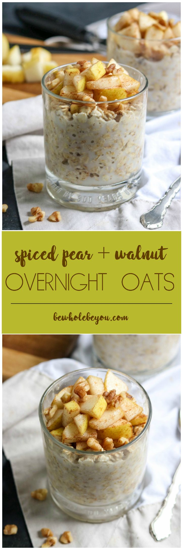 Fall is in the air and these Spiced Pear and Walnut Overnight Oats are the perfect way to welcome the season. Maple sweetened and full of hearty rolled oats, your morning will be off to the perfect start with this make ahead breakfast! bewholebeyou.com