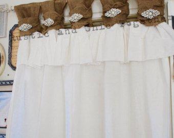 Arpillera y lino blanco volantes elegante broche de cortinas - fichas ancho fruncidos-