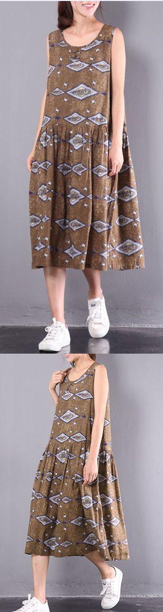khaki geometric print linen short sleeve pleated dress