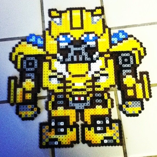 Bumblebee Transformers perler beads by  beadslovechowder242