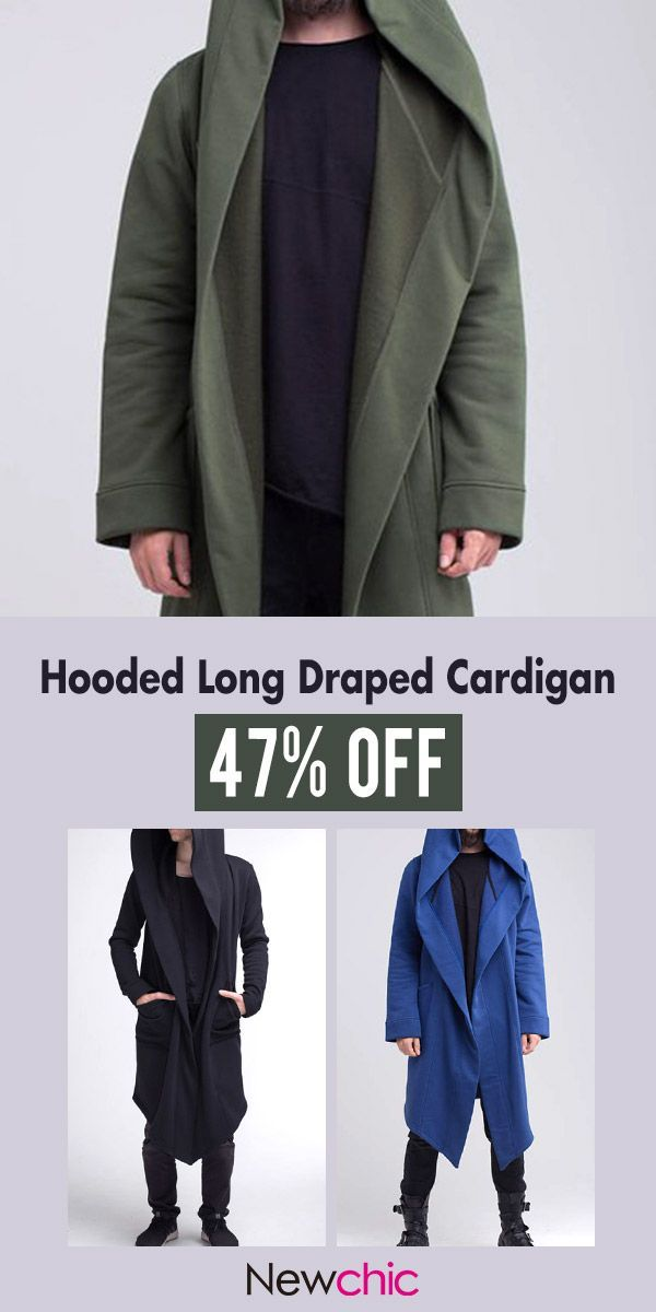 Mens Casual Solid Color Irregular Hem Hooded Big Pockets Long Draped  Cardigan  casual  mensfashion  menswear 18fde53cc