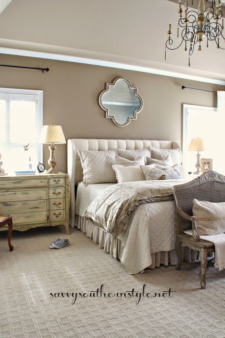 Neutral Master Bedroom, French style, Restoration Hardware bedding, Pottery Barn bedding, French bench, chandelier, painted furniture, antique French commode, mix of new and old, Alexandria Beige wall color, Benjamin Moore paint, French antiques