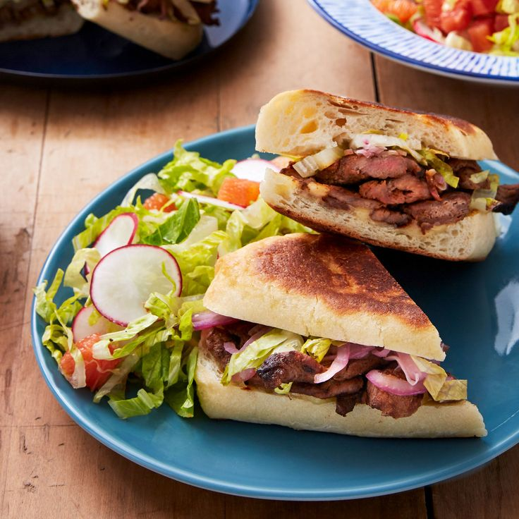Spiced Beef & Pickled Onion Tortas with Cara Cara Orange, Radish & Romaine Salad