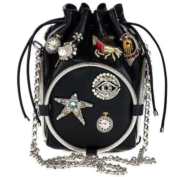 Alexander McQueen Clutch featuring polyvore, women's fashion, bags, handbags, clutches, black, drawstring purse, bucket handbag, leather purses, drawstring handbags and alexander mcqueen clutches