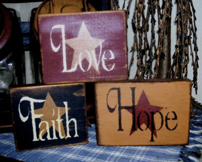 FAITH HOPE LOVE PRIMITIVE SHELF SITTERS SIGNS SIGN